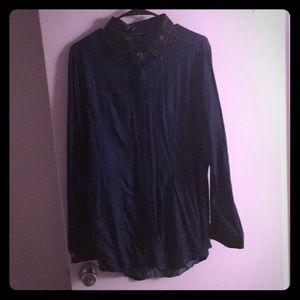 Ashley Stewart Faux Leather and Denim Shirt